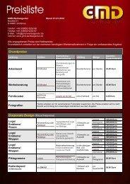 Aktuelle Preisliste 2012 - GMD-Werbeagentur