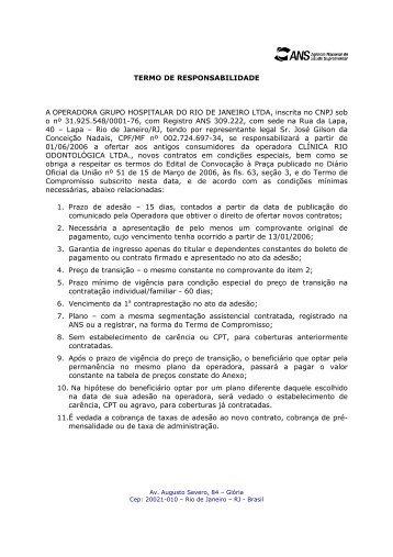 TERMO DE RESPONSABILIDADE A OPERADORA GRUPO ...