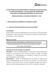 fichas técnicas dos indicadores do programa de qualificação ... - ANS