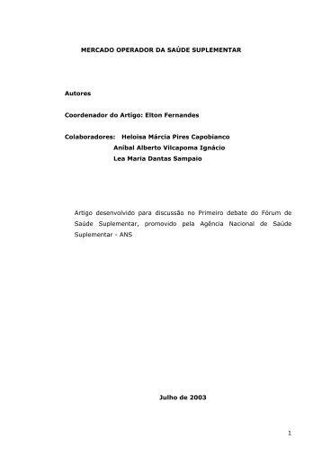 1 MERCADO OPERADOR DA SAÚDE SUPLEMENTAR ... - ANS