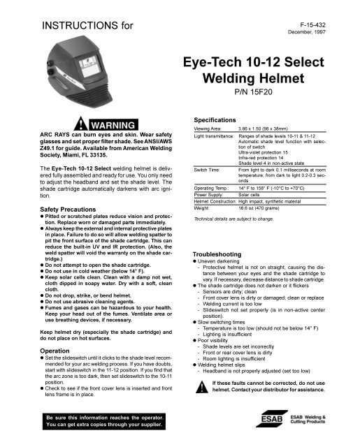 Eye-Tech 10-12 Select Welding Helmet