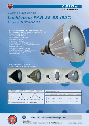 Lucid area PAR 38 ES (E27) LED-illuminant