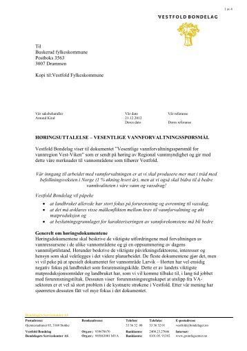 Uttalelse VB Vesentlige Vannforvaltningsspørsmål