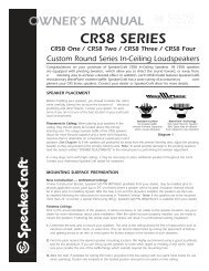 CRS8 Series Manual - SpeakerCraft