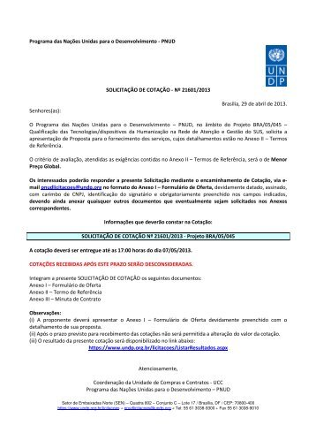 Nº 21601/2013 Brasília, 29 de abril de - Pnud