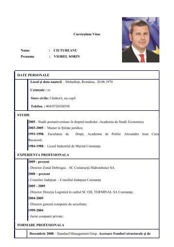 Curriculum Vitae Nume : CIUTUREANU Prenume ... - oil terminal
