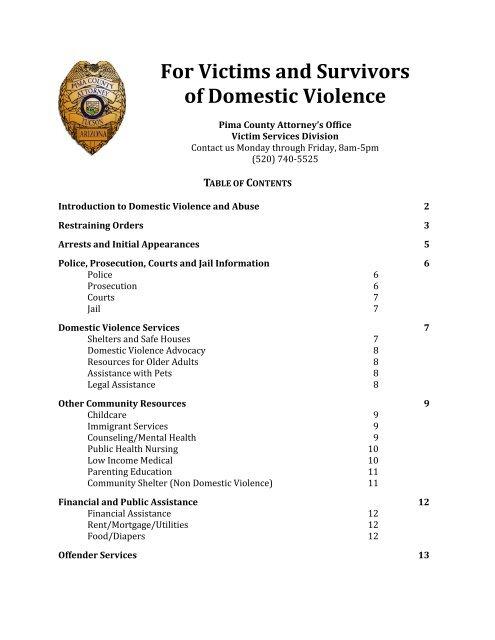 Domestic Violence Booklet - Pima County Attorney
