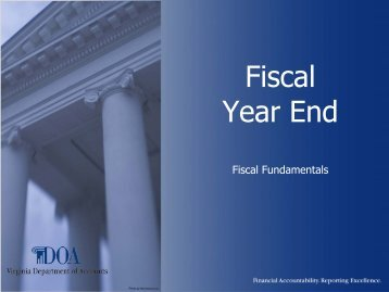 Fiscal Year End - Virginia Department of Accounts - Commonwealth ...