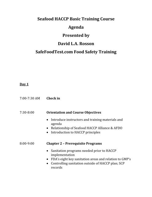 Seafood HACCP Basic Training Course Agenda Presented by