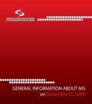 General information on NIS for 2009