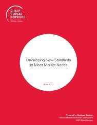 Developing new StanDarDS to Meet Market neeDS - CUSIP Global ...