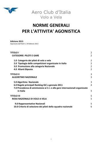 NORME GENERALI PER L'ATTIVITA' AGONISTICA