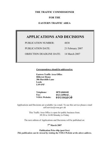 A&D 4838 - 21st February 2007 - Driver and Vehicle Licensing Agency