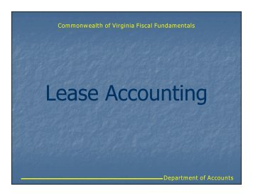 Lease Accounting - Virginia Department of Accounts