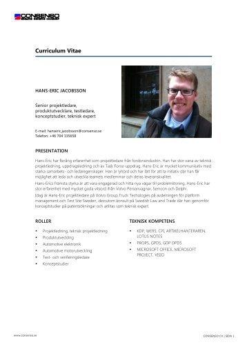 CV Hans-Eric Jacobsson - Consenso