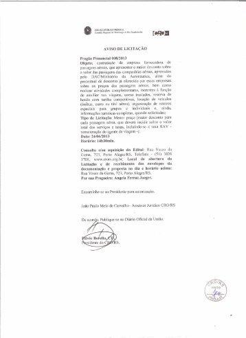 Edital de Pregão Presencial - CRO/RS