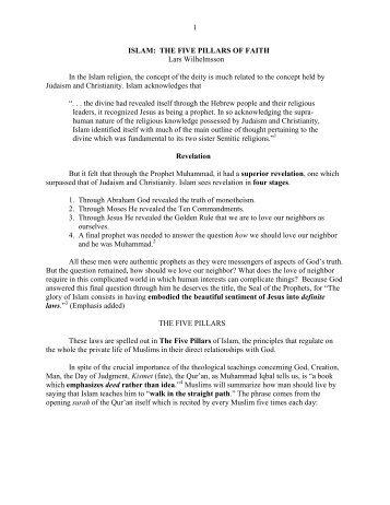 1 ISLAM: THE FIVE PILLARS OF FAITH Lars ... - Vital Christianity