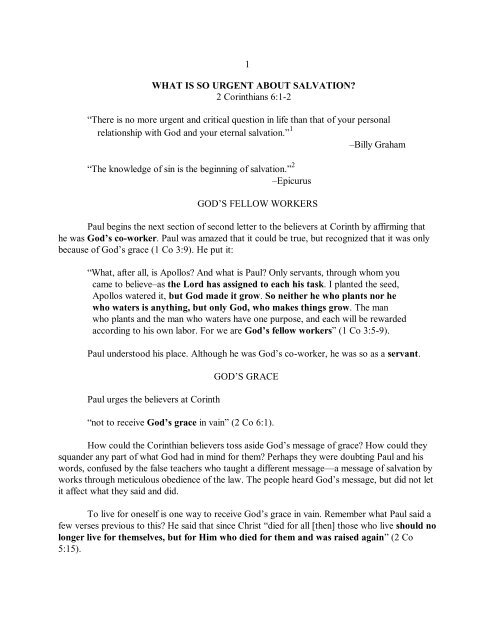 1 WHAT IS SO URGENT ABOUT SALVATION? 2 ... - Vital Christianity