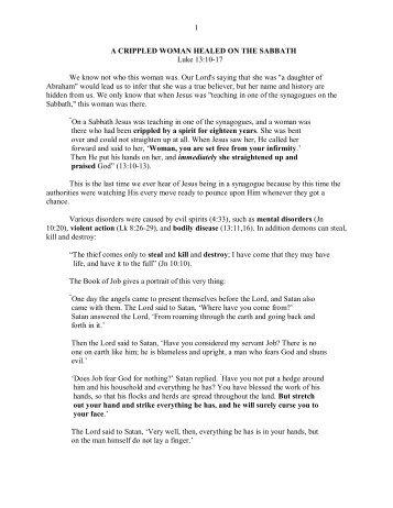 Lk 13.10-17 A Crippled Woman Healed on the ... - Vital Christianity