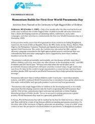 FOR IMMEDIATE RELEASE - World Pneumonia Day