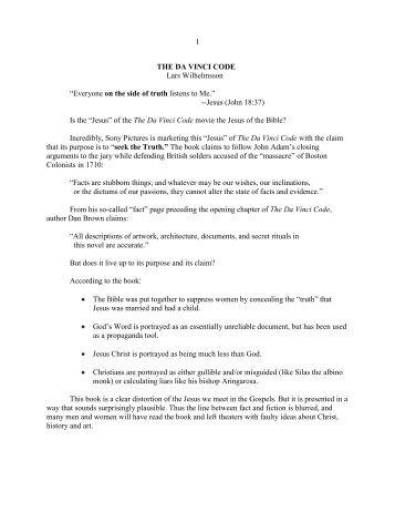 1 THE DA VINCI CODE Lars Wilhelmsson ... - Vital Christianity