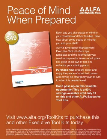 Download a preview of the tool kit. - Assisted Living Federation of ...