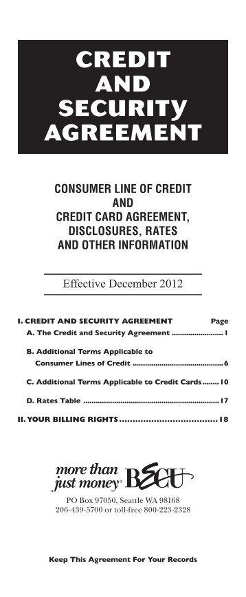 Credit And Security Agreement Addendum Loan Rate Sheet  Becu