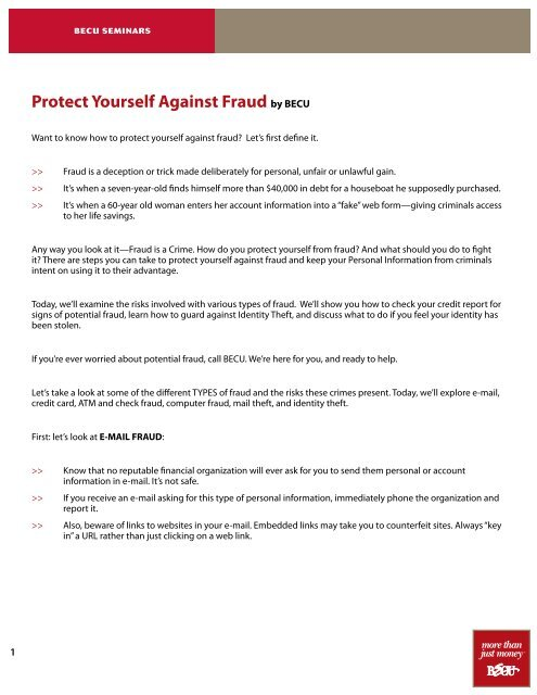 Protect Yourself Against Fraud By Becu