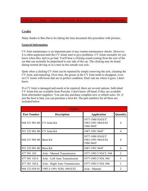 CV Joints - General Information, Removal, Installation - Clark's Garage