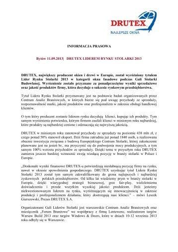 PRESS RELEASE - Drutex