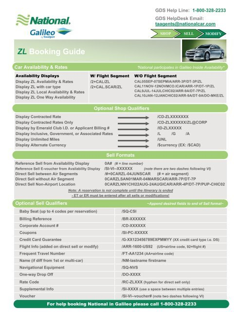 Helpful Hints for Galileo - National Car Rental