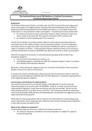 Fact Sheet The Continued Dispensing of PBS Medicines in Defined ...