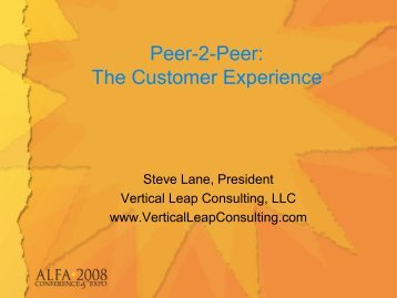 Peer-2-Peer: The Customer Experience