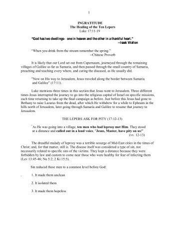 Lk 17.11-19 Ingratitude–The Healing of the Ten ... - Vital Christianity