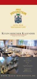 Kulinarischer Kalender 2015 (1. Halbjahr) Hotel Haus Hochstein im Sauerland