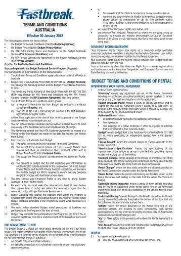 Enrolment Form And Profile Budget Rent A Car