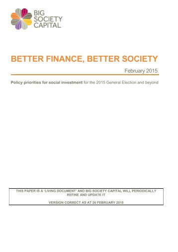 Better Finance, Better Society - policy priorities for social investment