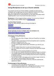 Using Wordpress to set up a Church website - The Methodist Church ...