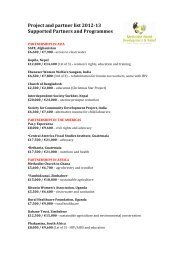 Project and partner list 2012-13 - The Methodist Church in Ireland