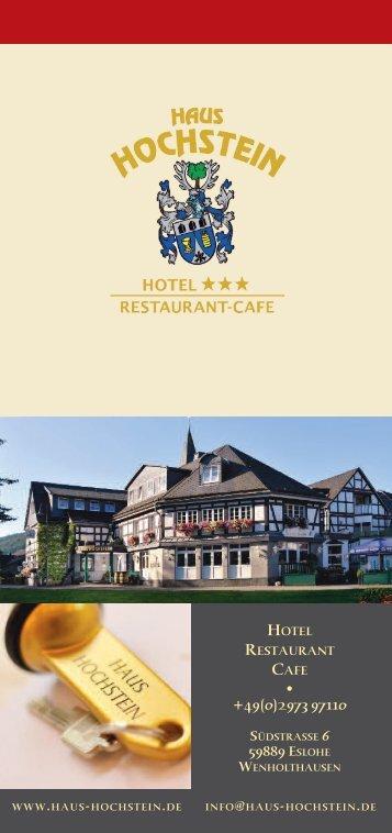 Hotel Haus Hochstein im Sauerland - Aktuelle Preise und Leistungen