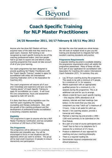 Coach Specific Training for NLP Master Practitioners - The Beyond ...
