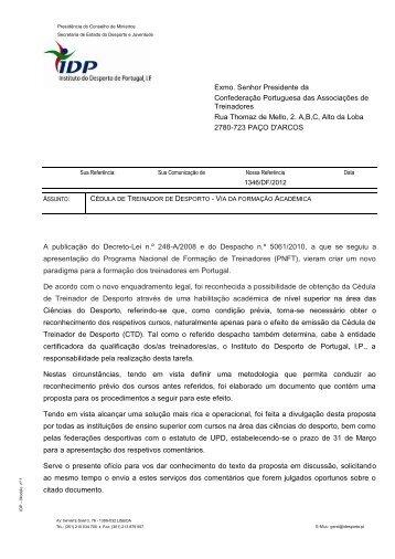ofício - Treinadores de Portugal
