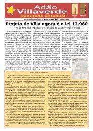 Projeto de Villa agora é a lei 12.980 - Adão Villaverde
