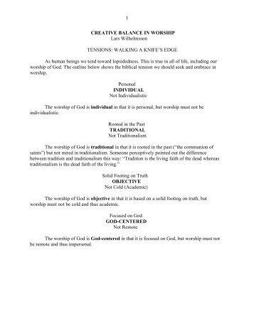 1 CREATIVE BALANCE IN WORSHIP Lars ... - Vital Christianity
