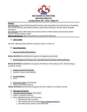 board of directors meeting minutes