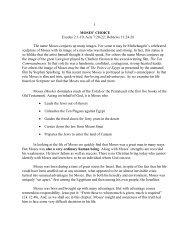 1 MOSES' CHOICE Exodus 2:1-10; Acts 7:20-22 ... - Vital Christianity
