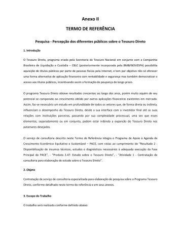 Anexo II TERMO DE REFERÊNCIA