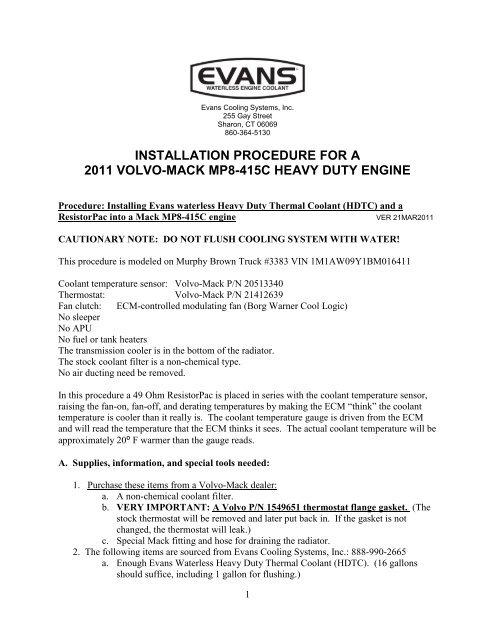2011 Volvo-Mack Mp8 415C Installation Procedure - Evans