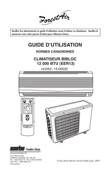 Instructions 13-05022 - Mini-split 12k (FR-ANG ... - Sunrise Tradex