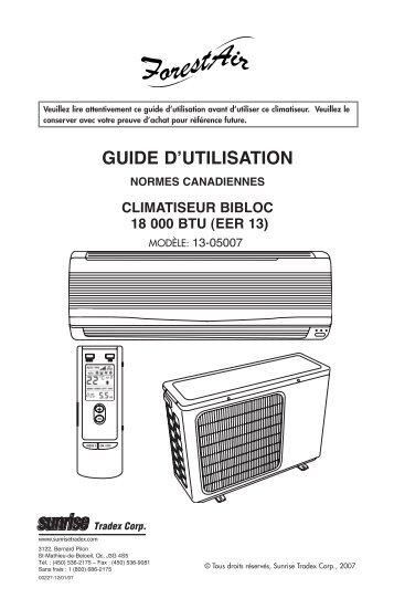 Instructions 13-05007 - Mini-split 18k (FR-ANG) - Sunrise Tradex